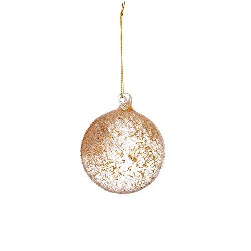 Sage & Co. XAO18647GD Glass Eyelash Ball Ornament (6 Pack)