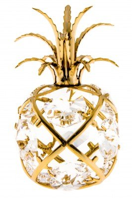Mini Pineapple 24k Gold Plated Ornament Figure with Swarovski Crystals