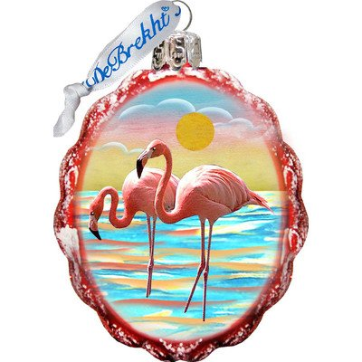 G. Debrekht Flamingo At Sun Set Coastal Glass Ornament