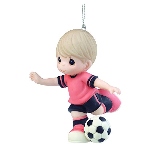 """Precious Moments, Christmas Gifts, """"I Get A Kick Out Of You"""", Porcelain Soccer Player Ornament, Boy, #161039"""