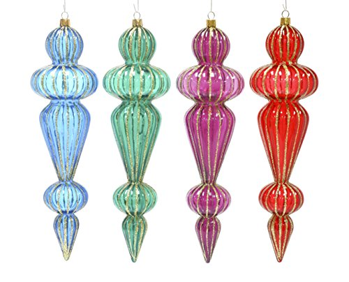 Sage & Co. XAO18829MU Glitter Rib Finial (4 Styles) (8 Pack)