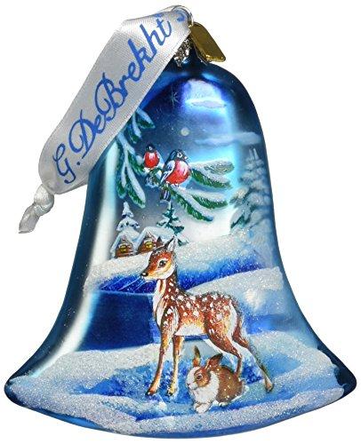 G. Debrekht Winter Bunny Glass Bell Ornament, 3.5″