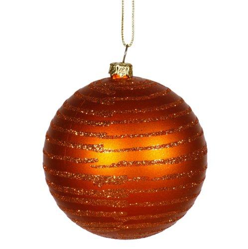Burnt Orange Glitter Striped Shatterproof Christmas Ball Ornament 3″ (75mm)