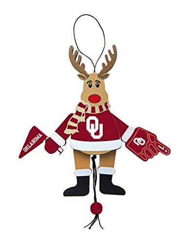 NCAA Oklahoma Sooners Wooden Cheer Ornament, Brown, 5.25″