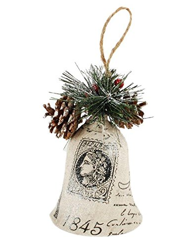 Blossom Bucket Ornament 1845 Bell with Pinecone Christmas Decor, 5-3/4″ High