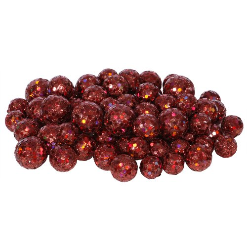 60ct Red Wine Sequin and Glitter Christmas Ball Decorations 0.8″ – 1.25″