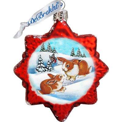 G. Debrekht Santa's Rabbits Glass Ornament