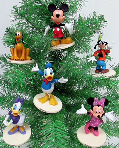 Disney MICKEY MOUSE 6 Piece Ornament Set Featuring Mickey Mouse, Minnie Mouse, Donald Duck, Daisy Duck, Goofy and Pluto, Ornaments Average 2.5″ Inches Tall