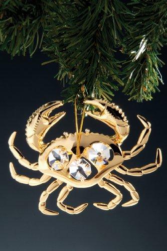 Crab Swarovski Crystal 24k Gold Plated Ornament NIB