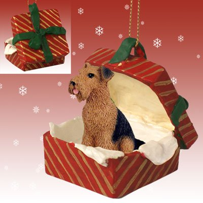 Conversation Concepts Airedale Gift Box Red Ornament