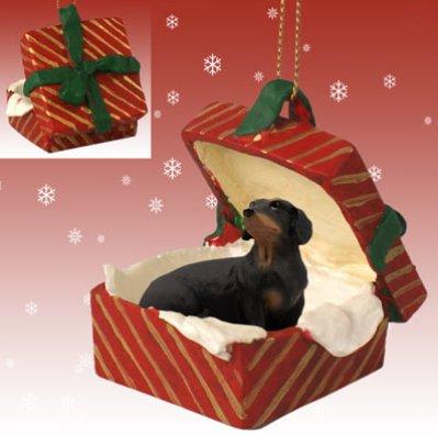DACHSHUND Dog Black n RED GIFT BOX Christmas Ornament New Resin RGBD60B