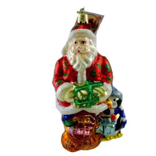 Inge Glas NORTH POLE DELIVERY Blown Glass Santa Penquin Ornament 906006