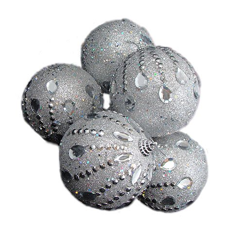 6 December Diamonds Silver Glittered Shatterproof Christmas Ball Ornaments 3.75″