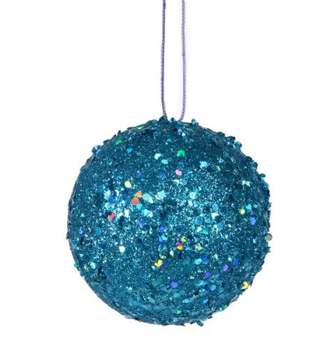 Vickerman Fancy Blue Holographic Glitter Drenched Christmas Ball Ornament, 4.75″