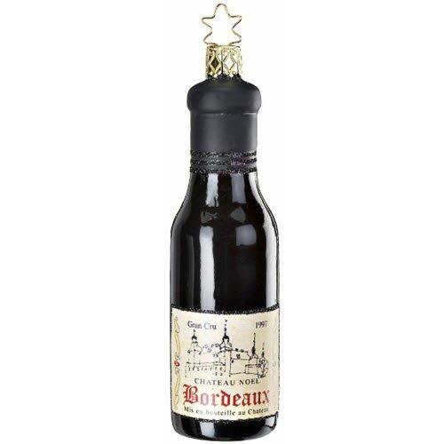 Inge Glas French Bordeaux Wine Bottle Glass Christmas Ornament 1-212-09