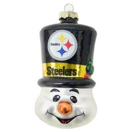 NFL Pittsburgh Steelers Blown Glass Top Hat Snowman Ornament