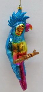 December Diamonds Glass Parrot in Rainbow Colors-HandPainted