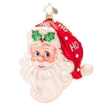 Christopher Radko Glass Ho Ho Claus Santa Head Christmas Ornament #1017414