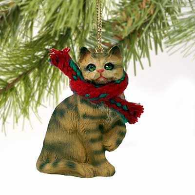 Tabby Cat Tiny Miniature One Christmas Ornament Brown Shorthaired – DELIGHTFUL!
