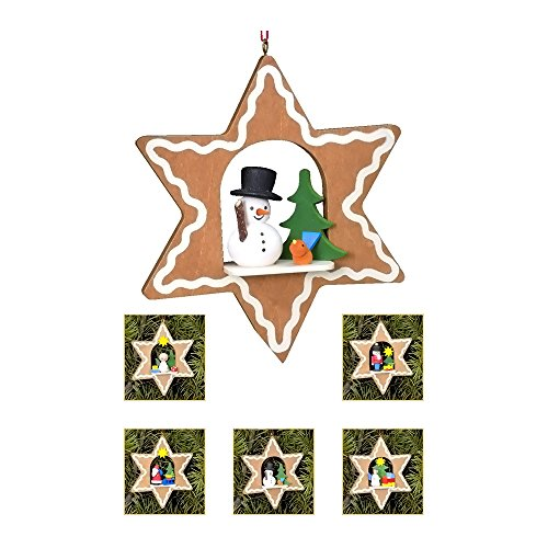 "10-0810 – Christian Ulbricht Ornament – Assorted Gingerbread Stars – set 6 pcs – 3.75″""H x 3.75″""W x .75″""D"