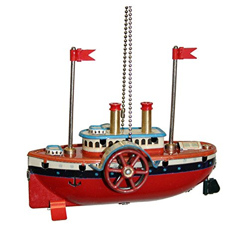 """MM276 – Collectible Tin Ornament – Steam Boat – 3.25″""""H x 3.5″""""W x 2″""""D"""