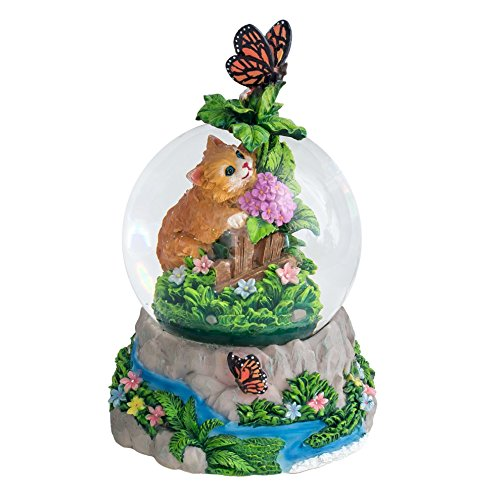 Kittens and Butterfly 100MM Resin Stone 3D Musical Water Globe Plays Tune Memory