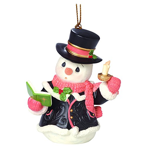 """Precious Moments, Christmas Gifts, """"O Come, All Ye Faithful"""", 7th in Annual Snowman Series, Porcelain Ornament, #161033"""
