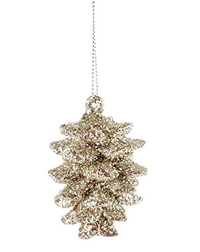 Blossom Bucket Glittery Frosted Pinecone Ornament Christmas Decor, 1-1/2 L by 2-1/2″ H