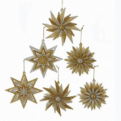 Kurt Adler Gold & Silver Snowflake Ornaments