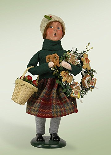 10″ Caroler Girl with Gingerbread Wreath Christmas Table Top Decoration