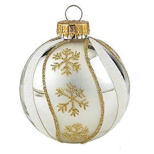 Kurt Adler Gold and Silver Swirl Design Glass Ball Ornament, 65mm, Set of 4