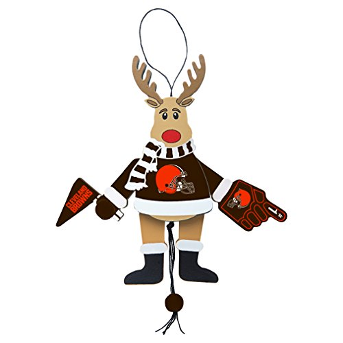 NFL Cleveland Browns Wooden Cheer Ornament, Brown, 5.25″