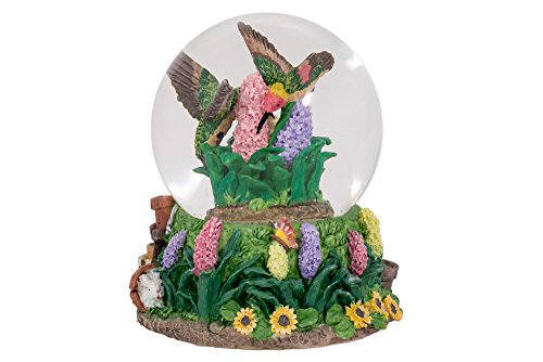 Hummingbirds Hyacinth Flower Garden Glass Musical Snow Globe Plays Song Everything is Beautiful