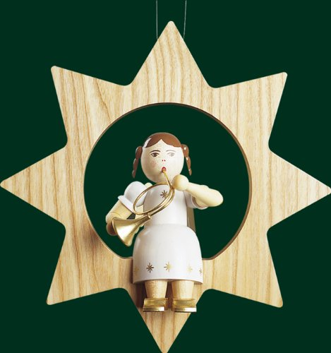 Hanging Christmas Tree Star Shaped Ornament Angel with Horn, 8.4 Inches