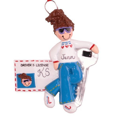New License Girl Brown Personalized Ornament