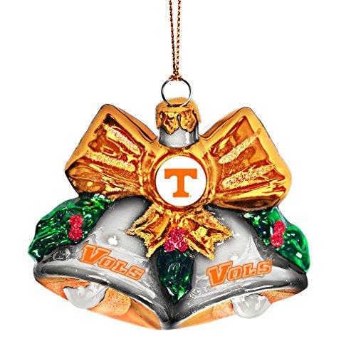 NCAA Tennessee Volunteers Glitter Bells Ornament, Green, 3″ x 3″