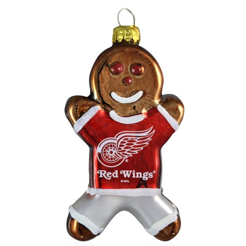 NHL Detroit Red Wings Blown Glass Gingerbread Man Ornament