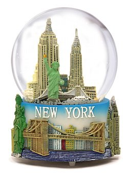"Musical New York City Snow Globe with Statue of Liberty, Empire State Building, Landmarks, 100mm New York City Snow Globes, 6 Inches Tall, PLAYS ""NEW YORK, NEW YORK"""