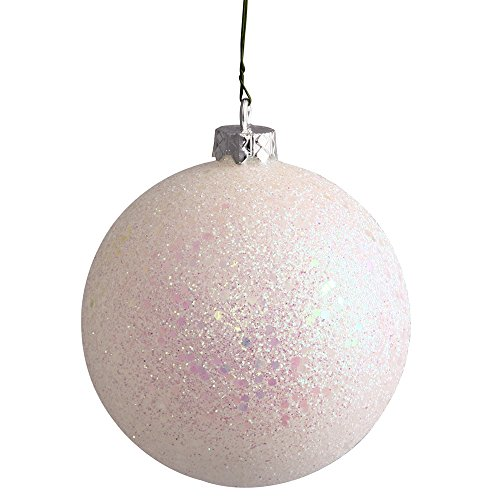 Vickerman Sequin Finish Seamless Shatterproof Christmas Ball Ornament with Drilled Cap, 6 per Bag, 4″, White