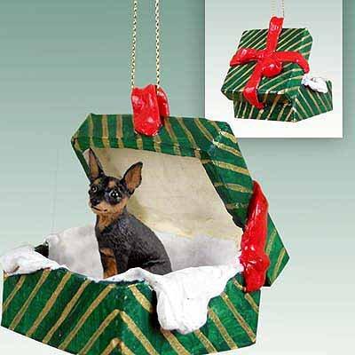Miniature Pinscher Green Gift Box Dog Ornament