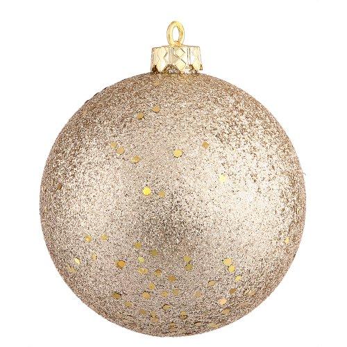 Vickerman Drilled Sequin Ball Ornament, 8-Inch, Champagne