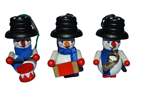 Steinbach Wooden Handmade in Germany Set of Three (3) Musical Snowmen