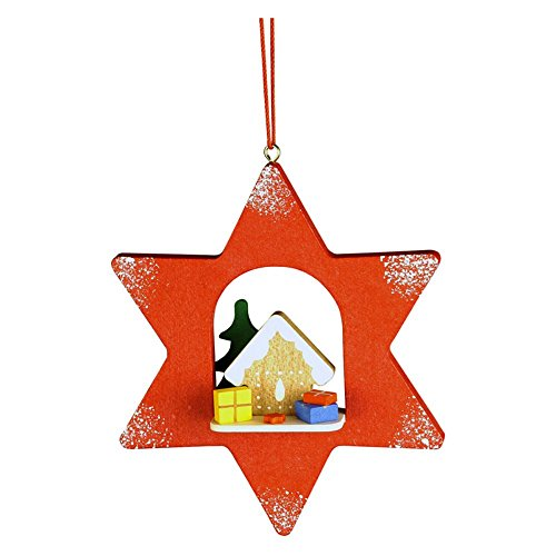 """10-0455 – Christian Ulbricht Ornament – Gingerbread House in Red Star – 4″""""H x 3.25″""""W x 1″""""D"""