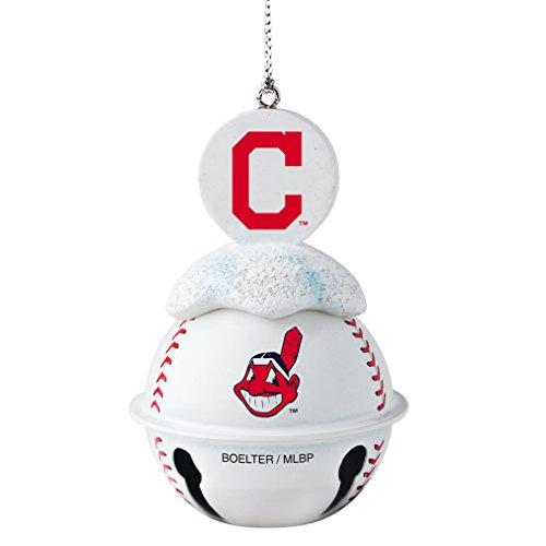 MLB Cleveland Indians Metal Baseball Bell Ornament, 2″, White