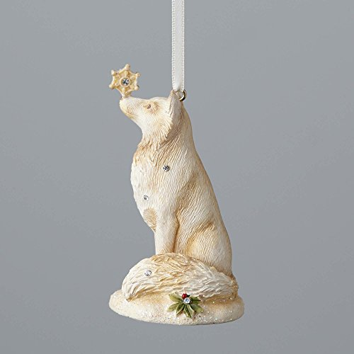 Enesco Foundations Fox with Snowflake Ornament 2.95 In