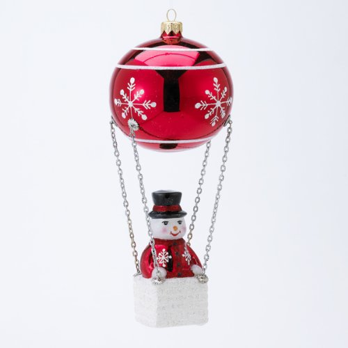 David Strand Designs Glass Frosty Skies Snowflakes Snowman Christmas Ornament