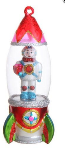 6″ Multi-Colored Astronaut in Spacecraft Glittered Glass Christmas Ornament