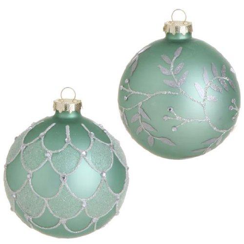 RAZ Imports – Glittered Mint Green Glass Ball Ornaments