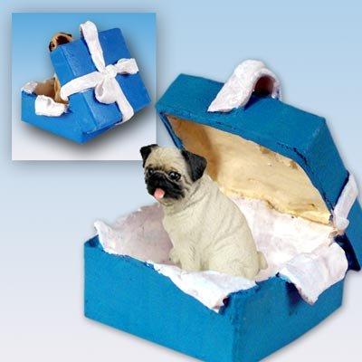 Conversation Concepts Pug Fawn Gift Box Blue Ornament