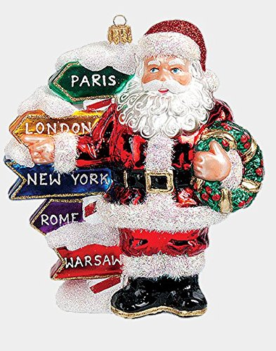 Santa with Travel Directions Sign Polish Mouth Blown Glass Christmas Ornament